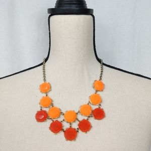 J. Crew Double Orange Circle Statement Necklace
